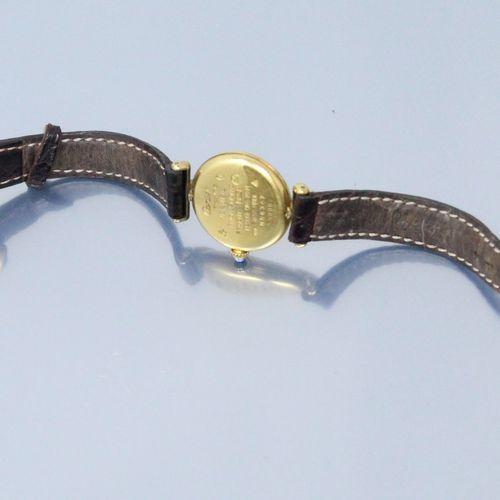 CARTIER (Muss man haben)  Damenarmbanduhr, rundes Gehäuse aus Silber und Vermeil…