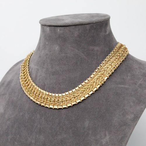 Demi parure en or jaune à maille filigranée comprenant un collier 14k (585) et u…