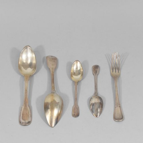 Five silver cutlery (Minerve) : one fork, two soup spoons and two small spoons. …