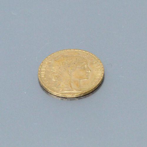Pièce en or de 20 francs au coq (1908)  TTB à SUP.  Poids : 6.45 g.