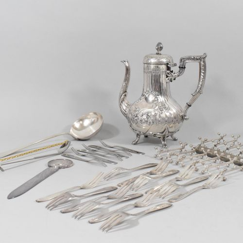 Lot of silver plated metal composed of :   A teapot with floral design (twisted …