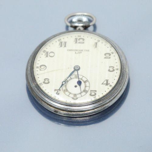 LIP  Chronomètre LIP en argent, cadran à fond doré, chiffres arabes pour les heu…