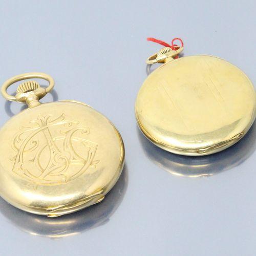 OMEGA  Lot de deux de gousset en or jaune 18k (750), cadrans à fond émaillés bla…