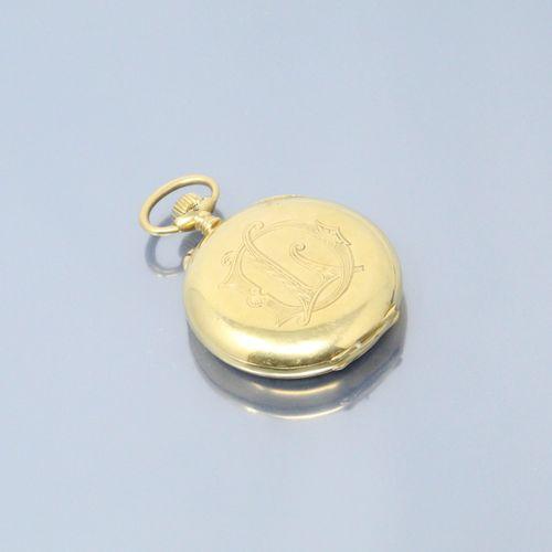 MOERIS  Montre chronographe de gousset en or jaune 18k (750), cadran à fond émai…