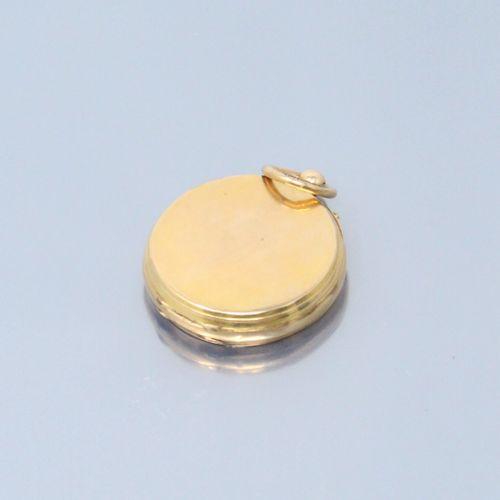 Débris de montre de gousset en or jaune 18K (750). Cadran émaillé à fond blanc a…