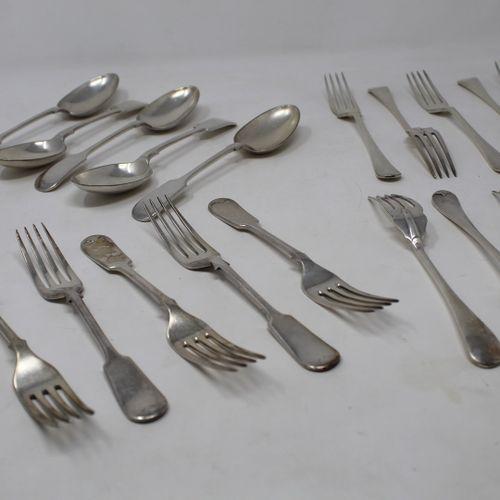 Set of metal cutlery including five dessert spoons, seven dessert forks, eleven …