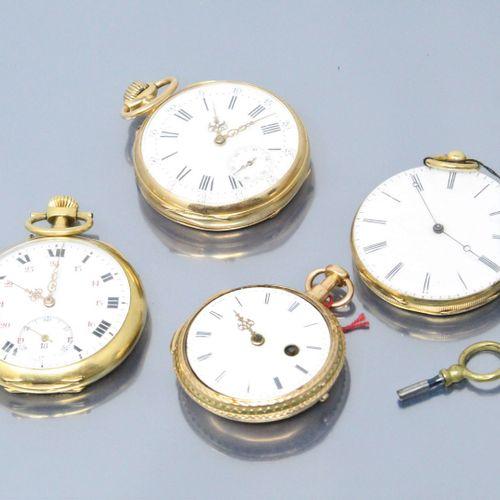 Lot de quatre montres de gousset en or jaune 18k (750). On y joint une clef de r…