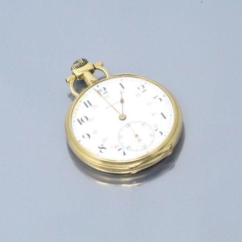ZENITH  Montre de gousset en or jaune 18k (750), cadran à fond émaillé blanc, ch…