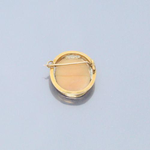 Camée coquille figurant une jeune femme de profil. Monture en or jaune 18K (750)…
