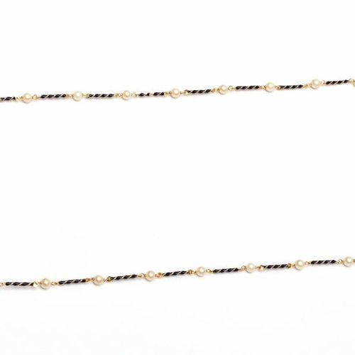 Sautoir de maillons en or 18krt., entrecoupés de perles de culture, Maillons tou…