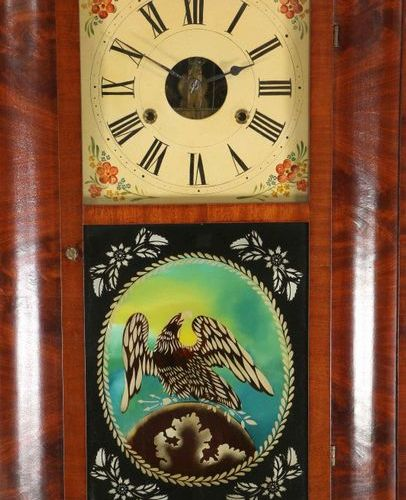 États Unis, horloge murale en acajou, par Birge & Fuller, 19e siècle ; montre av…