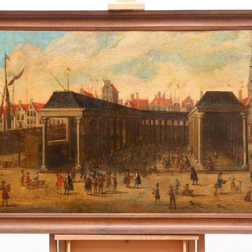 École hollandaise, XVIIe/XVIIIe siècle, Foules aux Korenbeurs sur le Damrak à Am…