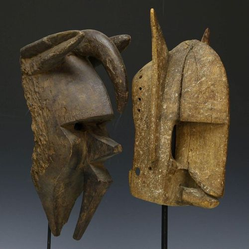 Mali, deux vieux masques usés par les intempéries ;, Dogon et Bamana. Collection…