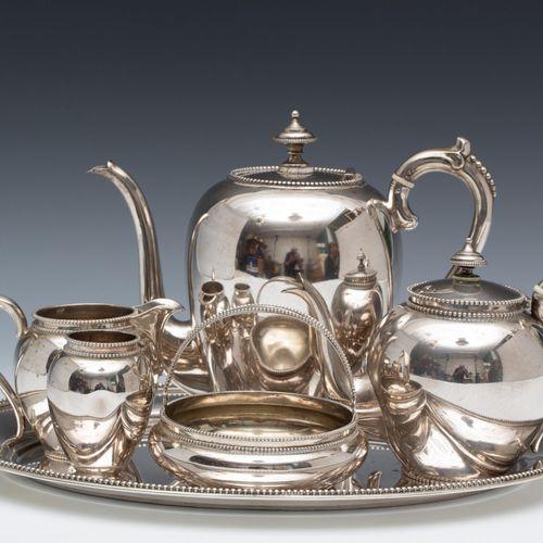 Zesdelig thee en koffieservies met parelrand, 19e eeuw, egg shaped model decorat…
