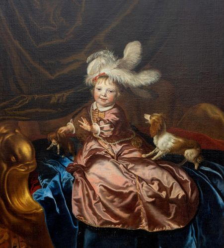Jacob van Loo (c. 1614 1670) Portrait of a boy, in pink silk dress, playing with…