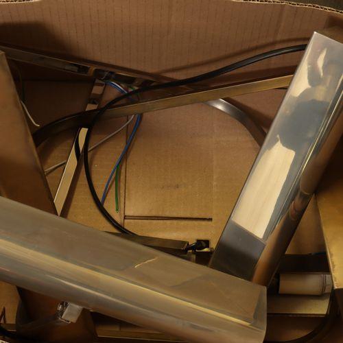 Verchroomde bureau lamp met bolle draaibare kap, gemerkt Domicil; herewith three…