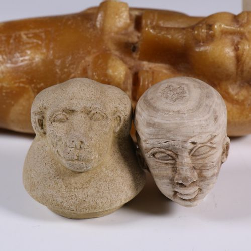 Drie Egyptische stijl objecten; Alabaster Ushabti, Canope and stone bust. [27.5 …
