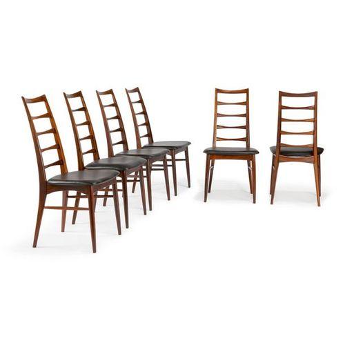 ~ NIELS KOFOED (1929 2018) & KOFOEDS MØBELFABRIK (ÉDITEUR) Suite de douze chaise…