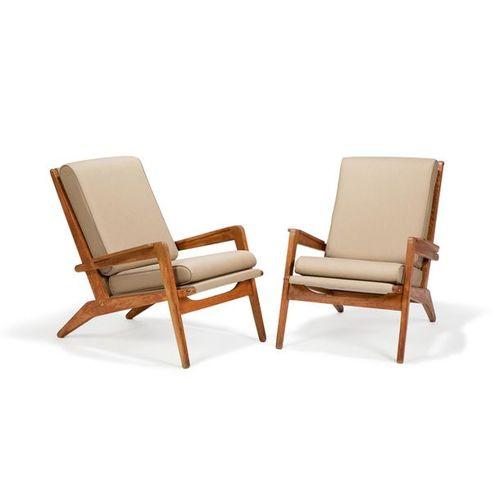 """PIERRE GUARICHE (1926 1995) & AIRBORNE (ÉDITEUR) Paire de fauteuils """"FS105"""", cir…"""