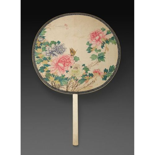 ~RIGID FAN with ivory handle, the painted silk surface representing peonies and …