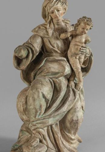 OGGETTISTICA Vierge à l'enfant sculpture en terre cuite avec traces de polychrom…