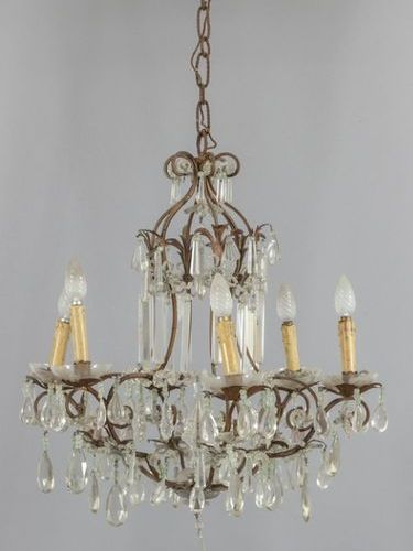 LAMPADARIO Chandelier with six lights in iron and crystals sec.XXdiam .Cm.60xh.6…