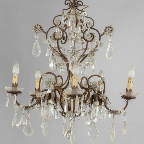 LAMPADARIO Chandelier in iron and crystals five lights sec.XXdiam .Cm.65xh.85