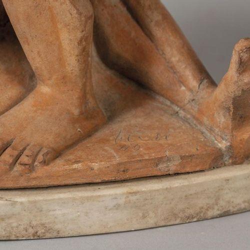 OGGETTISTICA Sculpture de lutteurs en terre cuite f.Ta et d.Ta'49m .40x30xh.35