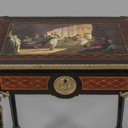 MOBILE Table de travail Napoléon III à plateau finement incrusté, décorée d'une …