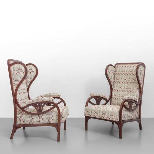 THONET GEBRUDER THONET (Éditeur)Deux fauteuils modèle 6542 1904. Sellerie en boi…
