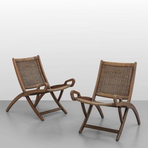 "PONTI Gio GIO PONTI Deux fauteuils pliants ""Ninfea "" pour FRATELLI REGUITTI 1958…"