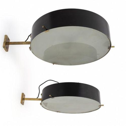 LAMPADA DEUX LAMPES MURALES années 60. Verre brossé, laiton d'aluminium laqué . …