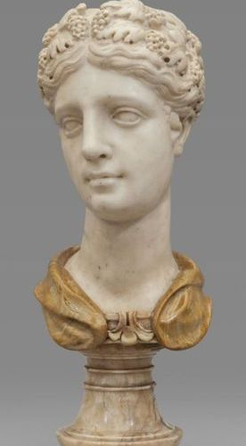 OGGETTISTICA Young statuary marble bust XVI century resting on an ancient alabas…