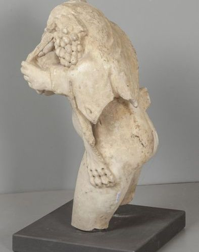 OGGETTISTICA Sileno headless sculpture in white marble sec.XVIh .Cm.65