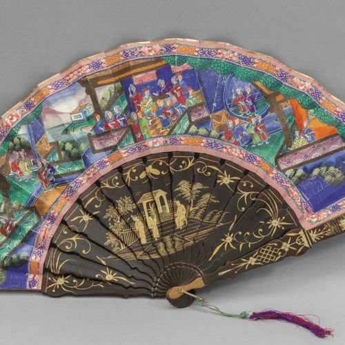 OGGETTISTICA Cantonese fan in its 19th century box