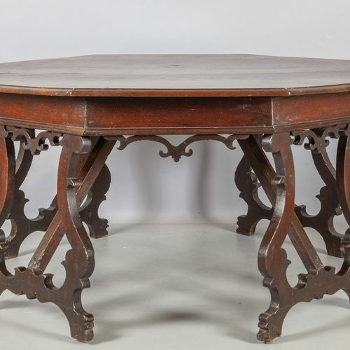 TAVOLO Pair of walnut half tables in Central Italy early 18th century cm. 150x75…