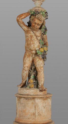 OGGETTISTICA Cherub polychrome terracotta sculpture early XIX century h.Tot.Cm.2…