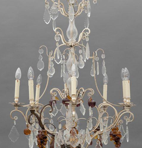 LAMPADARIO Lampadario a otto luci in metallo con ricca applicazione di vetri mol…