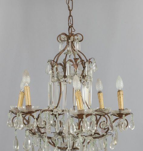 LAMPADARIO Lampadario a sei luci in ferro e cristalli sec.XX diam.Cm.60xh.65