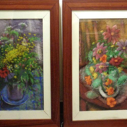 DIPINTO 'Vasi di fiori' coppia di pastelli cm. 45x64