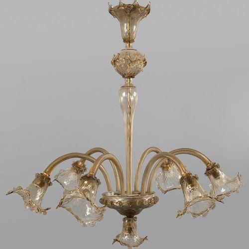 LAMPADARIO Lampadario a sei luci in vetro di Murano fumè diam. Cm.110 x h. 105 m…