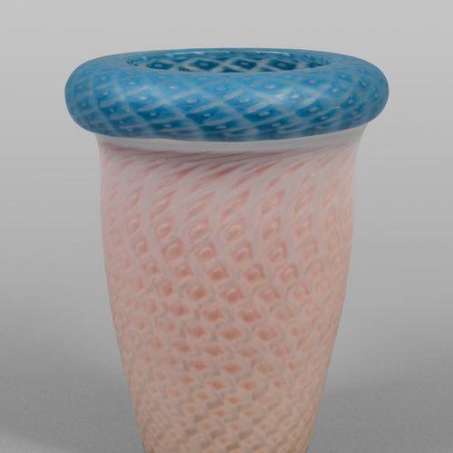 VASO Vase en verre rose et bleu XXème siècle h.Cm.30