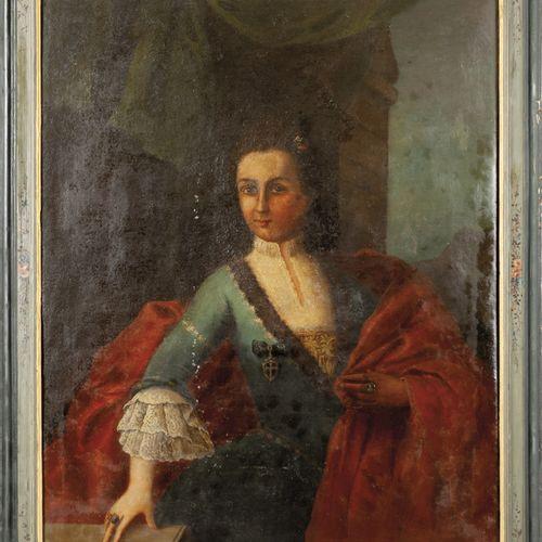 """DIPINTO École piémontaise XVIIIe siècle """"Noble femme à la broche"""" huile cadre co…"""