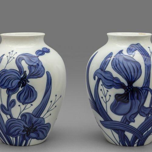 OGGETTISTICA Paire de vases en porcelaine blanche avec des fleurs bleues Ginori …