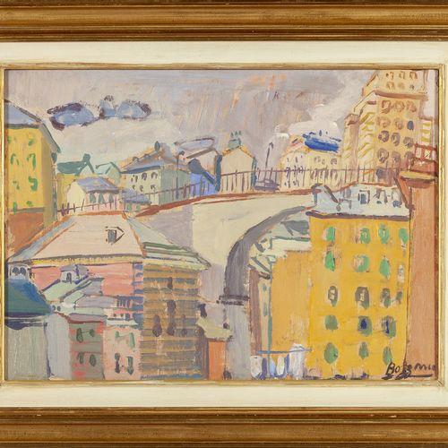 BOZZANO GUGLIELMO BOZZANO GUGLIELMO (1913 1999) Case a Genova deux huiles sur pa…