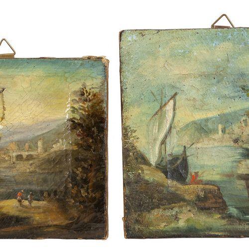 """DIPINTO Glimpses of old villages"""" deux huiles sur carton 19ème siècle cm.11x18 e…"""