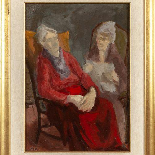 VERZETTI LIBERO LIBERO VERZETTI (1906 1989) Chiacchiere huile sur carton cm.34x4…
