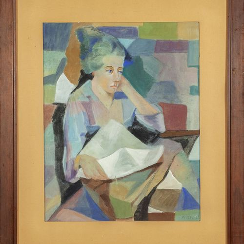PAVERO RICCARDO PAVERO RICCARDO (1894 1970) Femme lisant huile sur carton cm.50x…