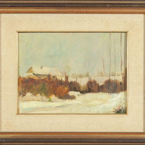 CIUCCI MARIO MARIO CIUCCI (1903 1968) Paysage de neige avec des maisons huile su…