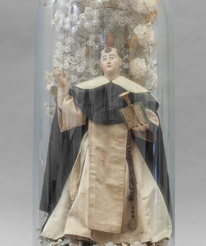 OGGETTISTICA Saint dominicain sculpture en terre cuite polychrome avec riche déc…